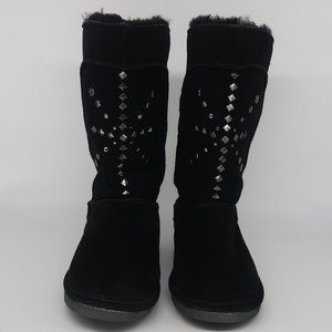 Bearpaw Black Suede Studded Boots, Size 7